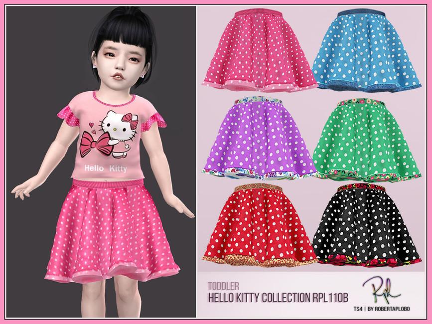 Юбка для детей Toddler Skirt Hello Kitty Collection Симс 4