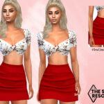Юбка High Waisted Red Skirt Симс 4