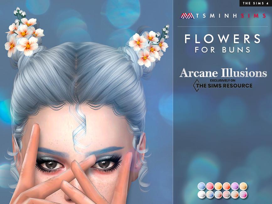 Аксессуар для волос Flowers For Buns Симс 4