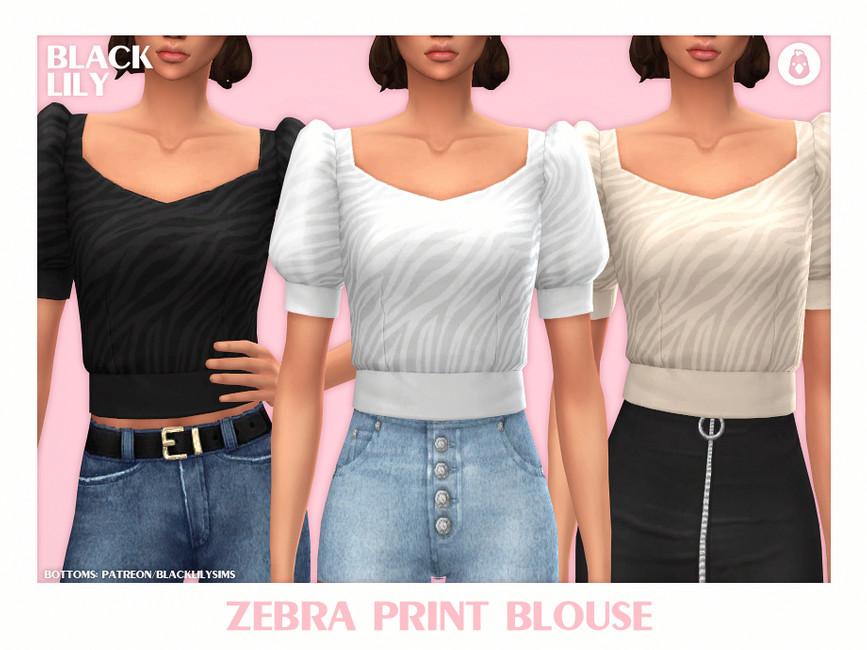Блузка Zebra Print Blouse Симс 4