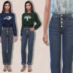 Джинсы Freedom Jeans (Rolled) Симс 4