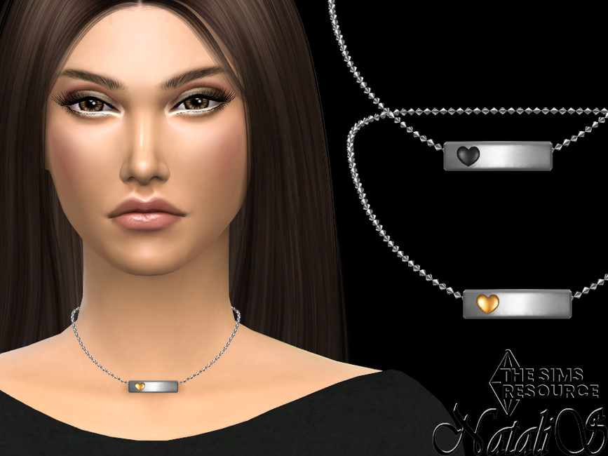 Колье Metal Bar With Heart Short Necklace Симс 4