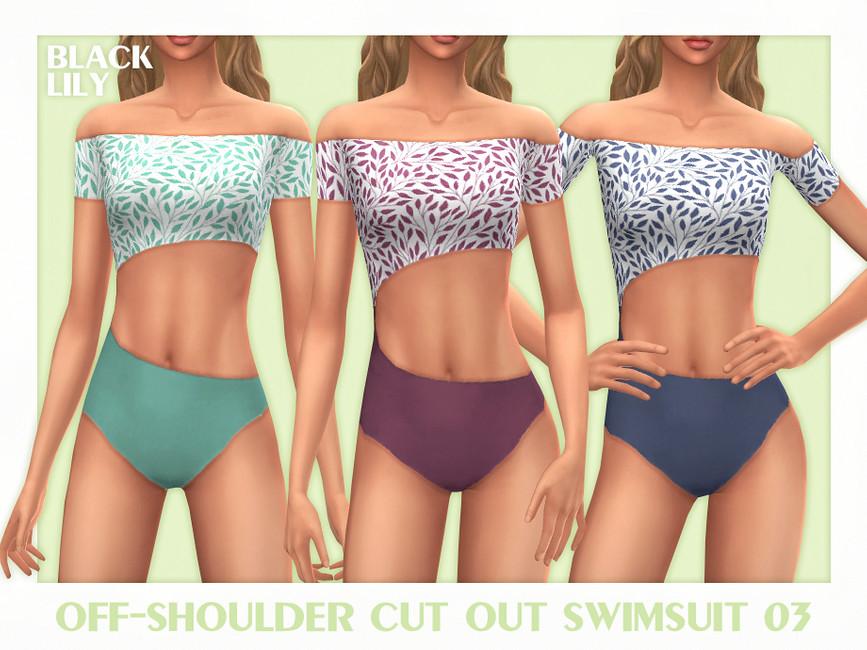 Купальник Off-Shoulder Cut Out Swimsuit 03 Симс 4