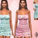 Мини платья Floral Mini Dresses Симс 4