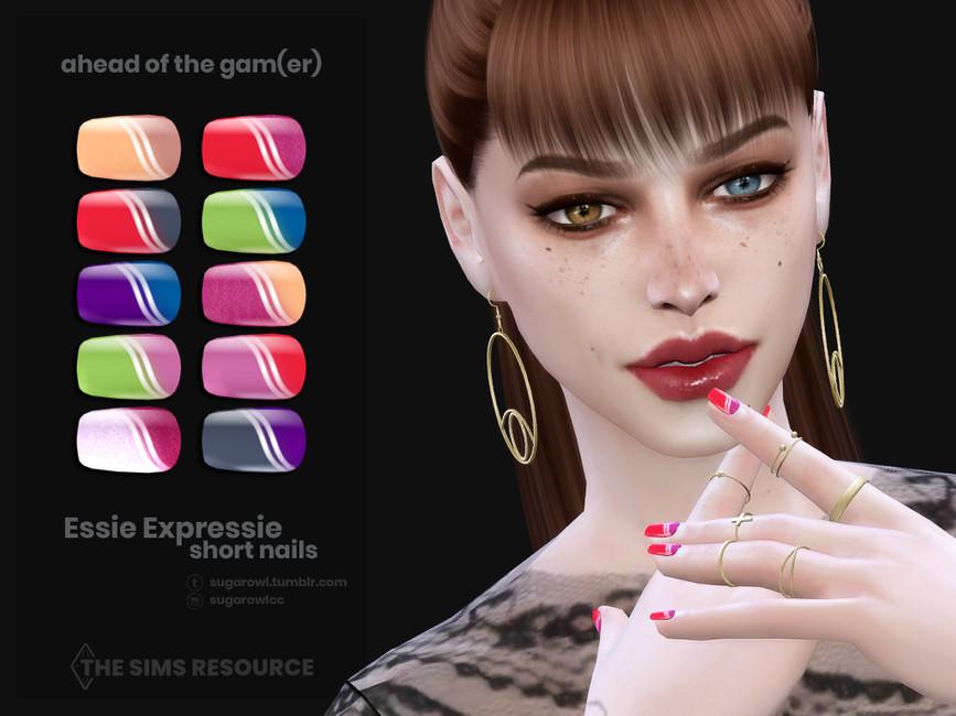 Ногти Ahead Of The Gamer Essie Expressie short nails Симс 4 (картинка 2)