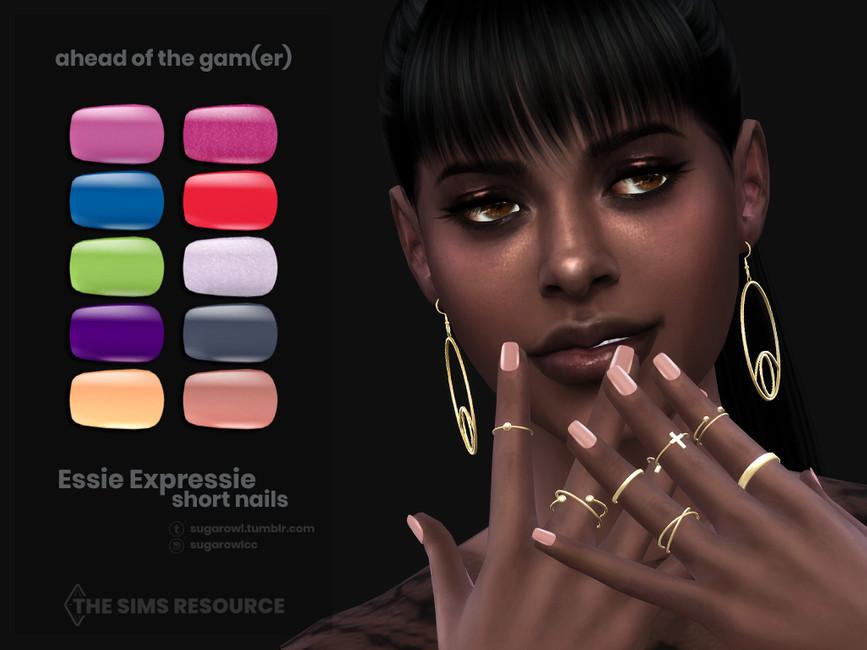 Ногти Ahead Of The Gamer Essie Expressie short nails Симс 4 (картинка 3)