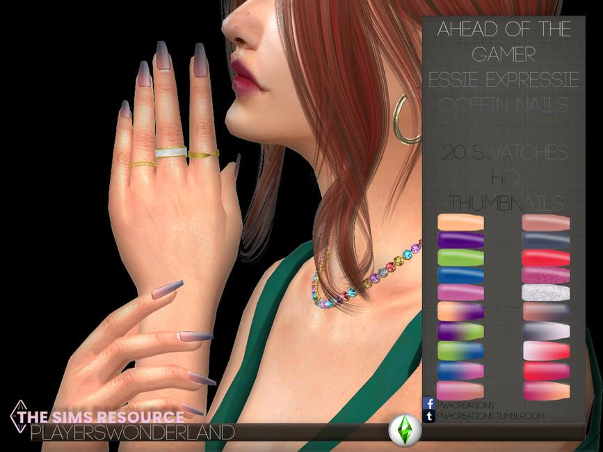 Ногти Essie Expressie Coffin Nails Симс 4