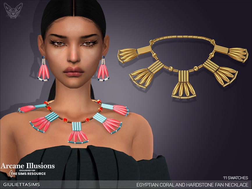 Ожерелье Egyptian Coral and Hardstone Fan Necklace Симс 4