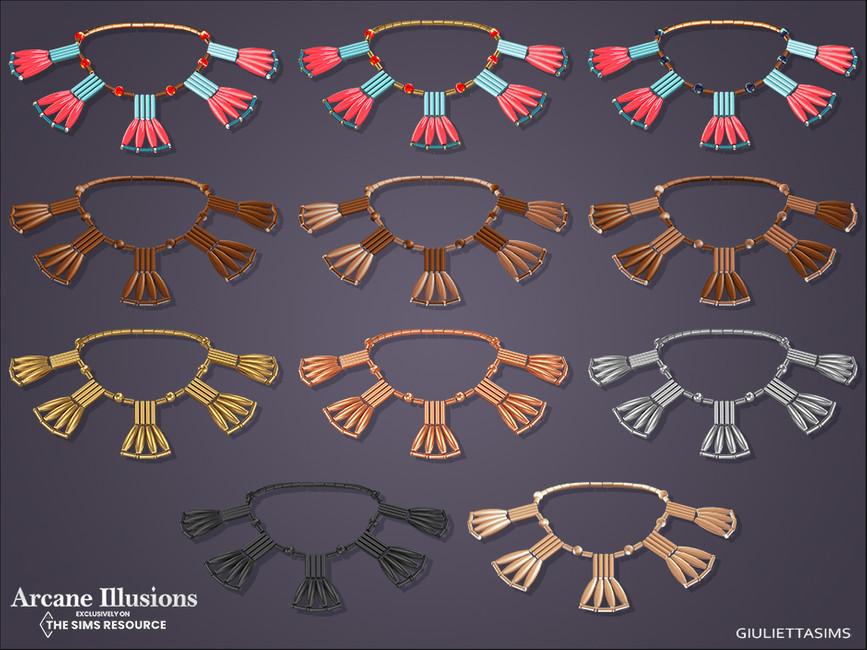 Ожерелье Egyptian Coral and Hardstone Fan Necklace Симс 4 (картинка 2)