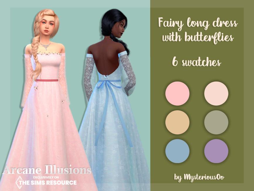 Платье Arcane Illusions Fairy Long Dress With Butterflies Симс 4