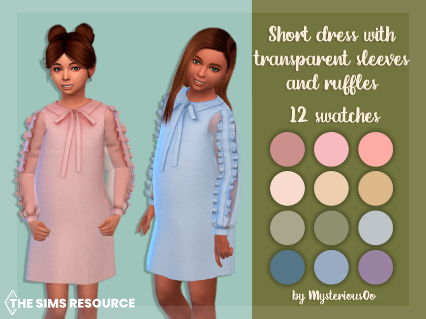Платье для детей Short Dress With Transparent Sleeves And Ruffles Симс 4