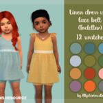 Платье для малышей Linen Dress With Lace Belt Toddler Симс 4