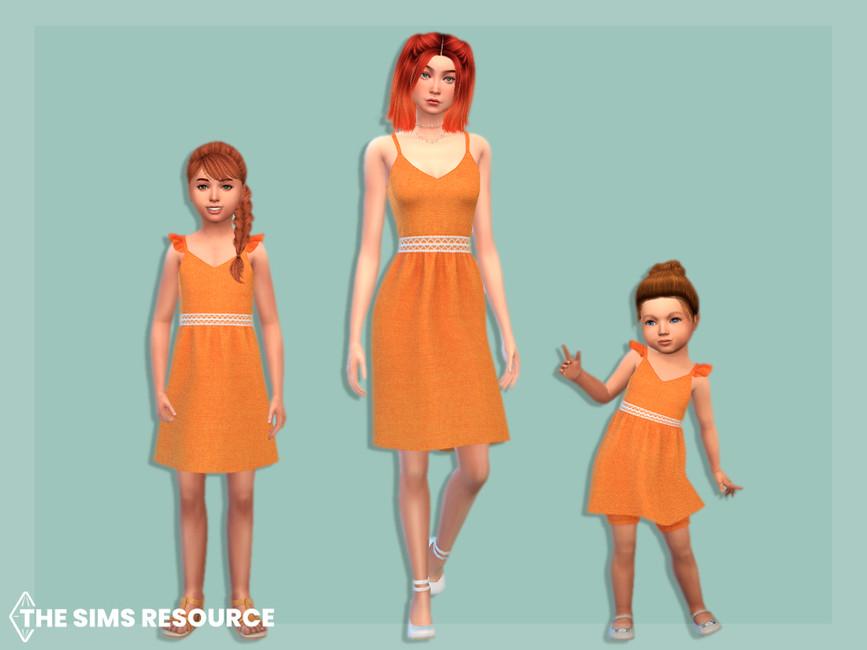 Платье для малышей Linen Dress With Lace Belt Toddler Симс 4 (картинка 2)