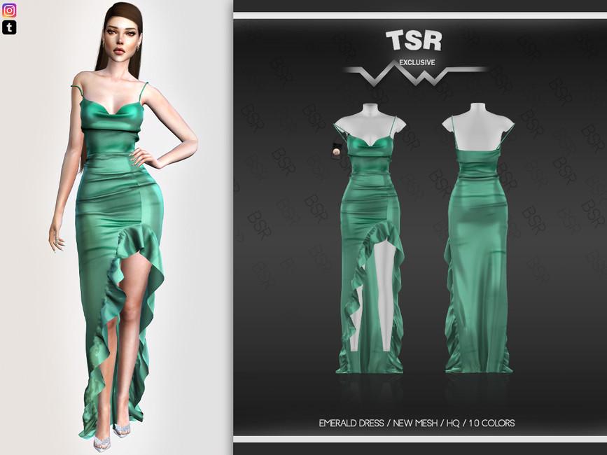 Платье EMERALD DRESS BD548 Симс 4