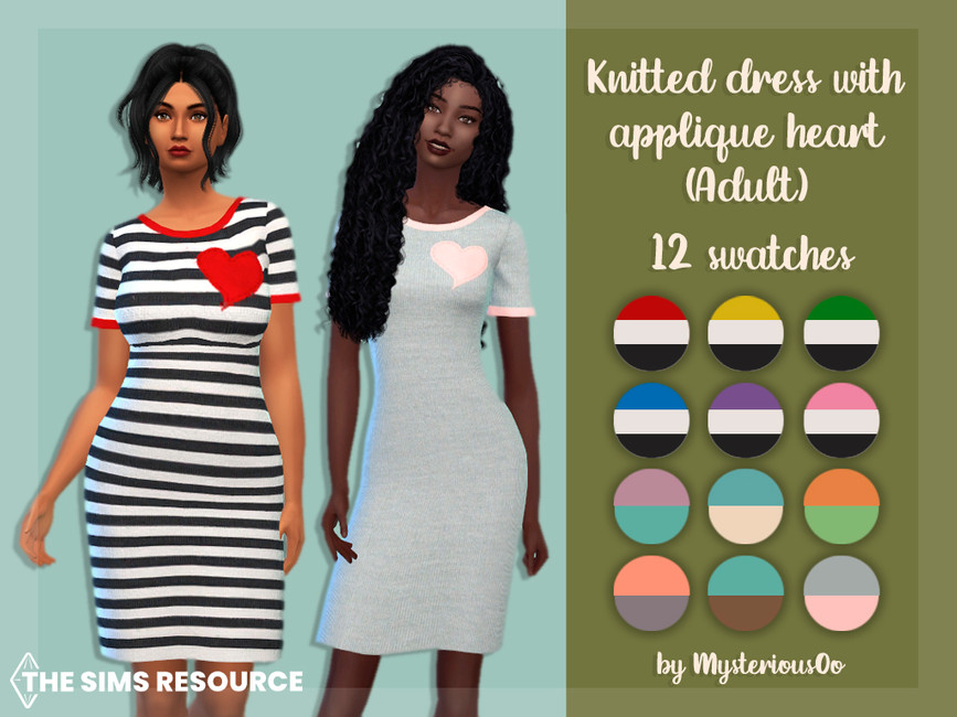 Платье Knitted Dress With Appligue Heart Adult Симс 4