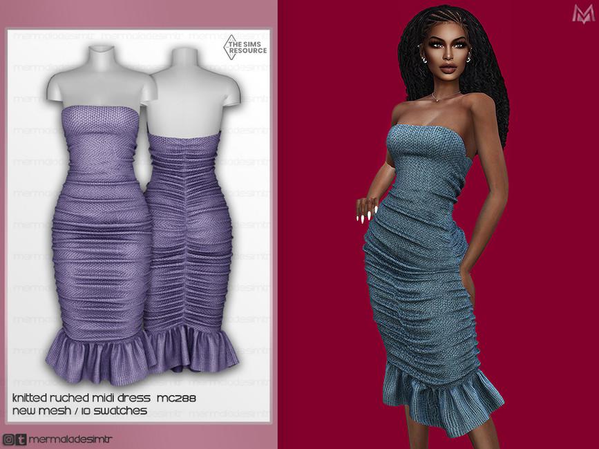 Платье Knitted Ruched Midi Dress MC288 Симс 4