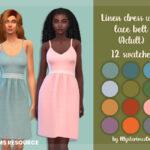 Платье Linen Dress With Lace Belt Adult Симс 4