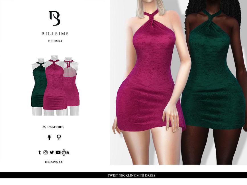 Платье Twist Neckline Mini Dress Симс 4