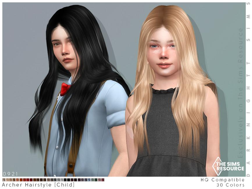 Прическа Archer Hairstyle (Child) Симс 4