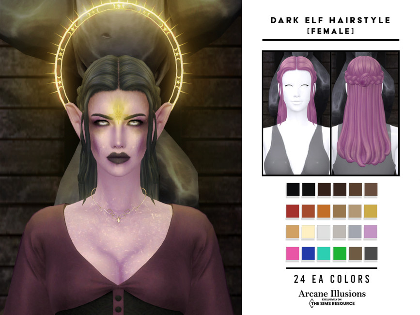 Прическа Dark Elf Hairstyle (Female) Симс 4