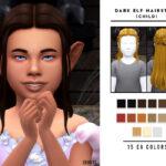 Прическа для детей Dark Elf Hairstyle (Child) Симс 4