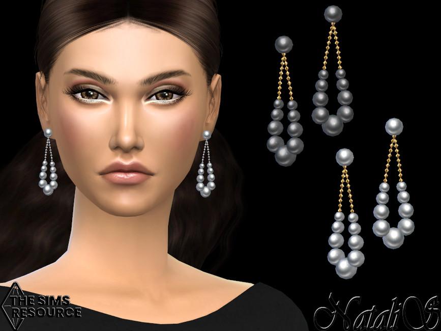 Серьги Graduated Pearl Teardrop Earrings Симс 4