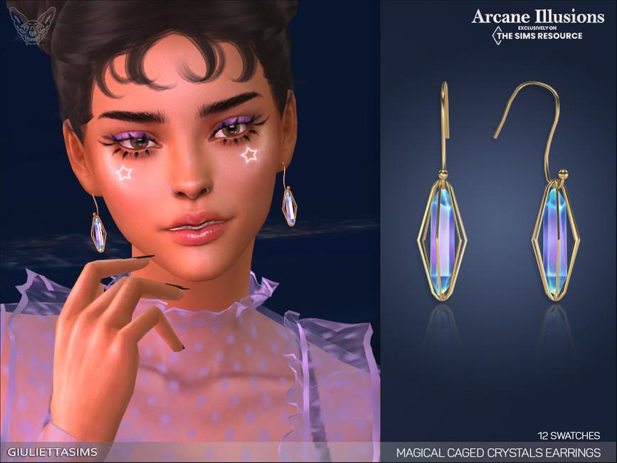Серьги Magical Caged Crystal Earrings Симс 4
