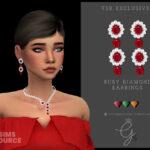 Серьги Ruby Diamond Earrings Симс 4