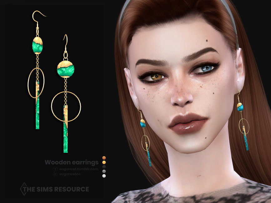 Серьги Wooden Earrings Симс 4