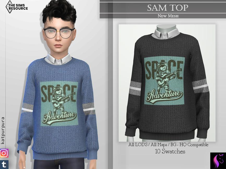 Свитер для мальчиков Sam Top Симс 4