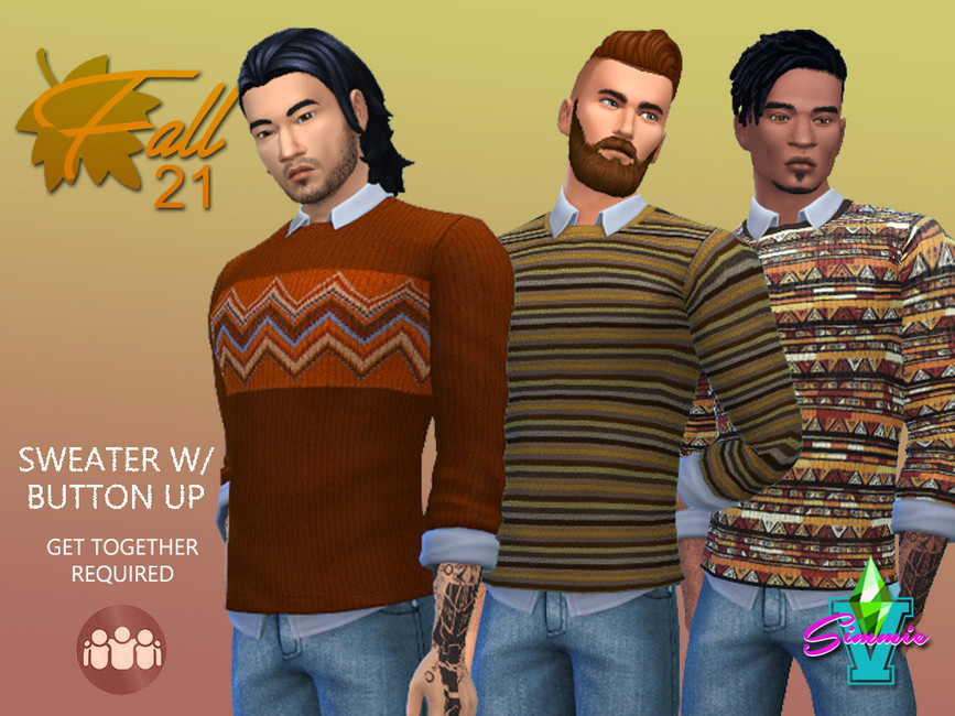 Свитер Fall21 Sweater with Button Up Симс 4