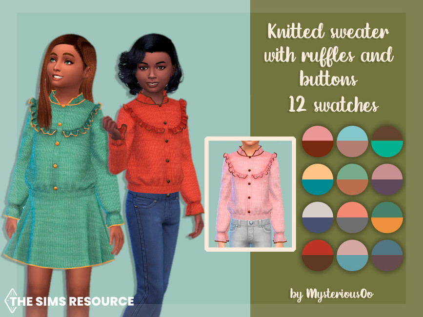Свитер Knitted Sweater With Ruffles And Buttons Симс 4