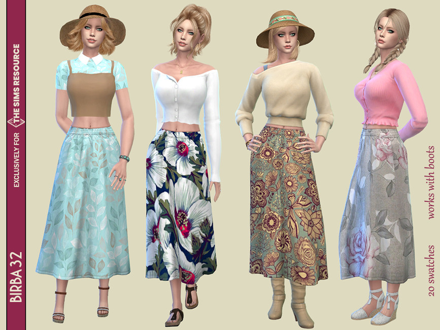 Юбка Floral Country Skirt Симс 4