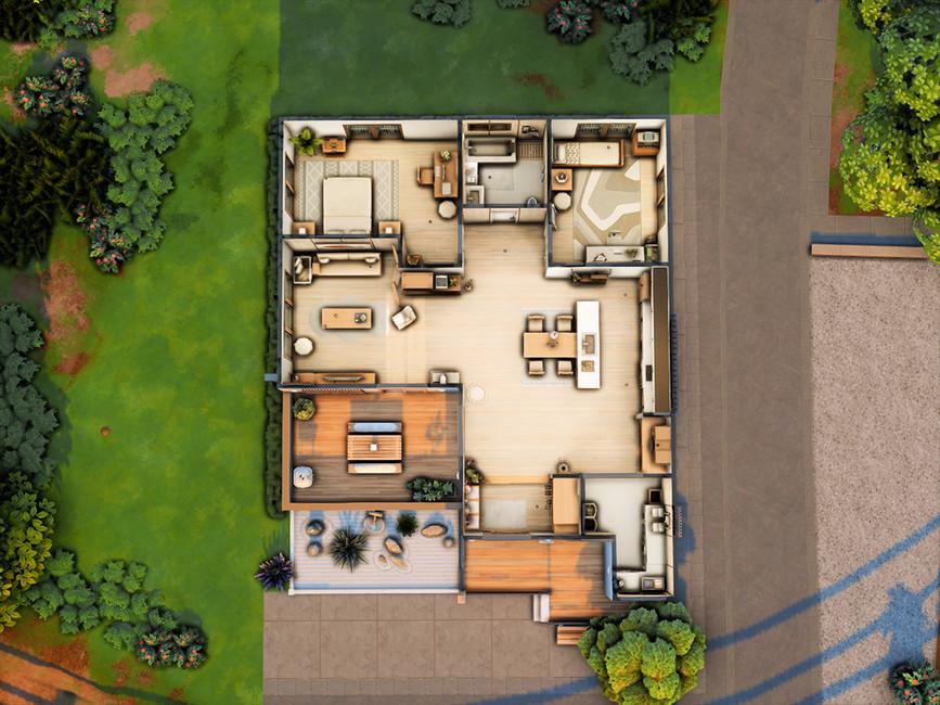 Загородный дом Симс 4 (картинка 6)