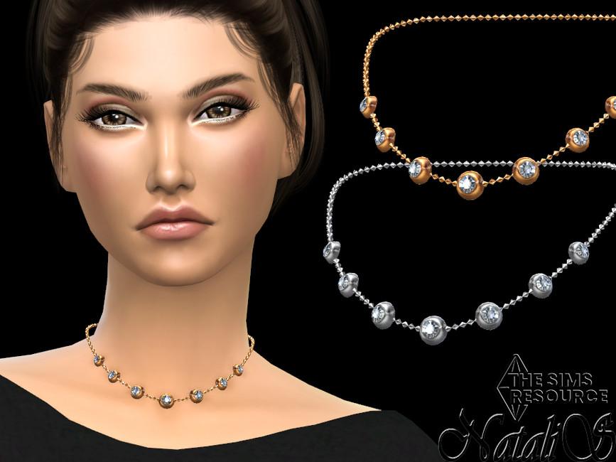 Колье Graduated Bezel Diamond Necklace Симс 4