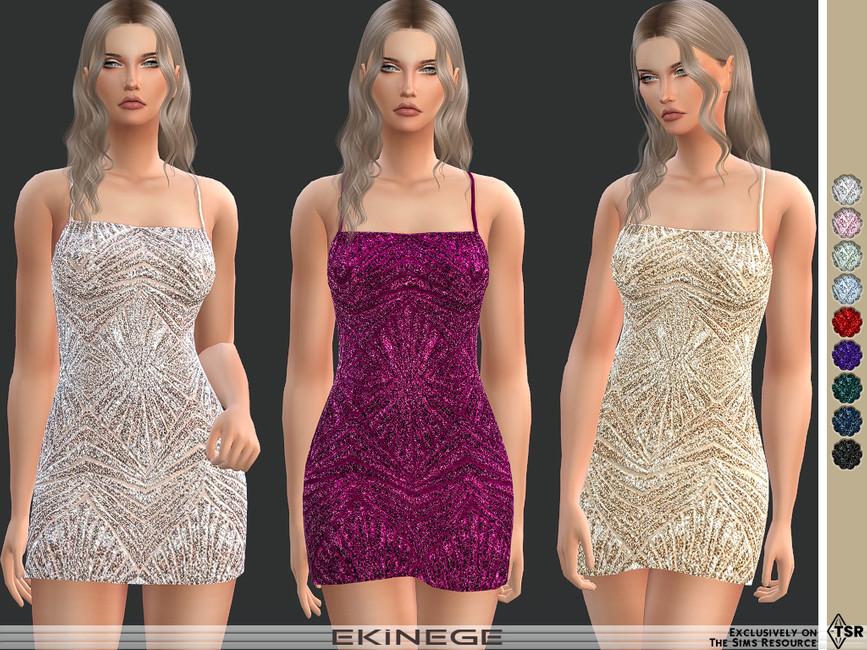 Мини платье Strappy Sequin Mini Dress Симс 4