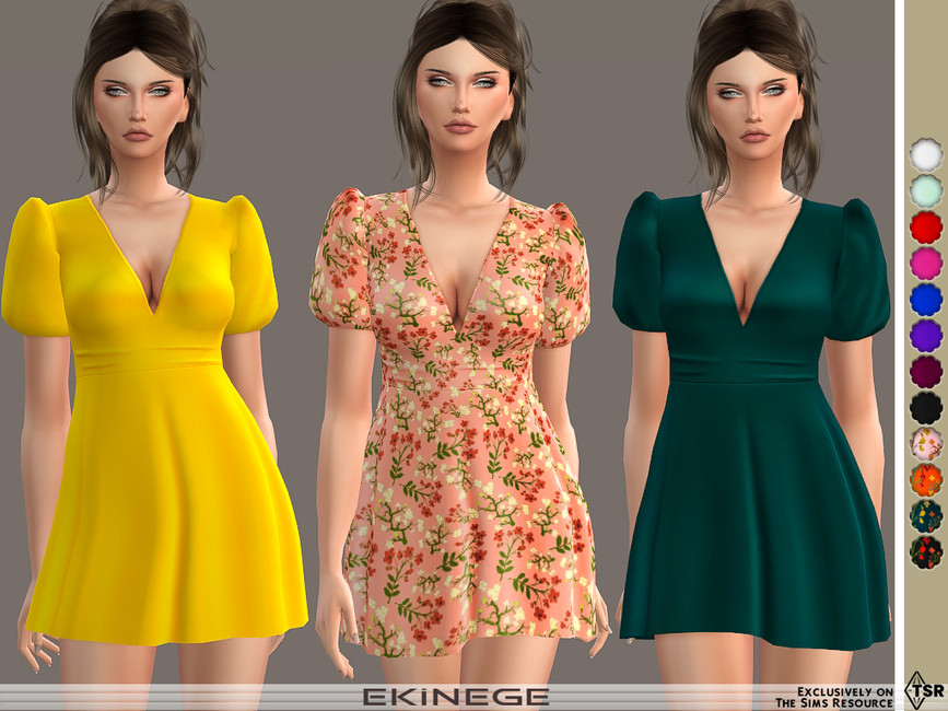 Мини платья Puff Sleeve Skater Mini Dress Симс 4