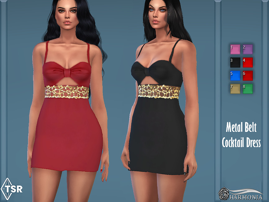 Платье Embroidery Waist Belt Dress Симс 4