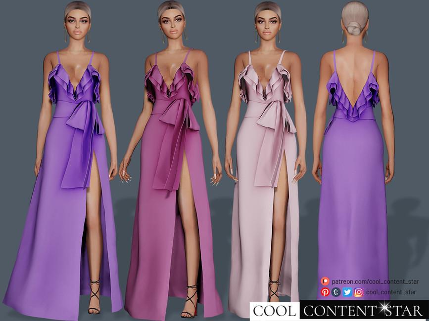 Платье Ribbon Dress Симс 4 (картинка 2)
