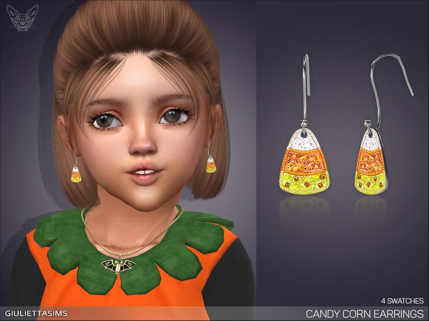 Серьги для малышей Candy Corn Earrings For Toddlers Симс 4