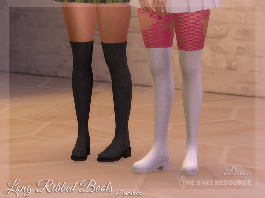 Женские сапоги Long Ribbed Boots Симс 4